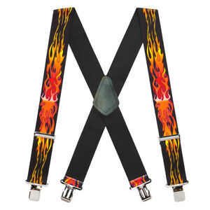 Flames Suspenders, Assorted Colors - 2 Inch Wide, Clip