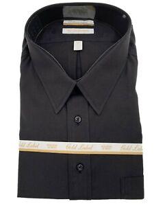 Gold Label Men's Dress Shirt Size 18.5 35 Big Black Roundtree & Yorke Top New