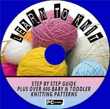 HOW TO KNIT BEGINNERS STEP BY STEP +400 BABY/TODDLER KNITTING PATTERNS PC-CD NEW