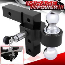 "2"" Receiver Black Heavyduty Aluminum Adjustable Dual Ball Mount Tow Hook + Lock"