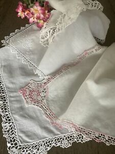 Vintage White Linen Cotton Tatted Crocheted Lace Ladies Handkerchiefs Lot Of 4