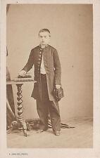 Photo cdv : Denisse ; Jeune garçon en collégien  , vers 1865