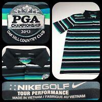 Nike 2013 PGA Championship Stripe DriFit Golf Polo Shirt Mens Oak Hill Large EUC