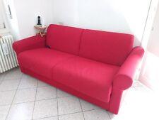 divano letto imbottito 2 posti rosso