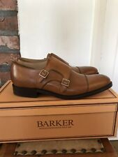 Barker Men'sTunstall Double Monk Leather Shoes UK7 (F Fitting) - Cedar Calf