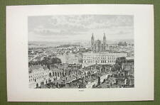 FRANCE Nacy View of City Center Cathedral - 1880s Antique Print