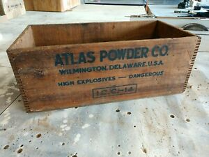 Vintage Atlas Powder Co High Explosives Dynamite Wood Box 25 Lb Coalite Long Box