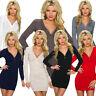 Damen Strick Kleid Minikleid Long Pullover Zipper Strass Mode Party S M 34 36 38