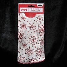 "Mini Christmas Tree Skirt White 18"" Red Metallic Glitter Snowflakes Red Trim"