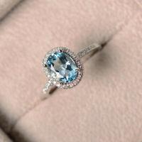 Elegant Oval Cut Aquamarine CZ Wedding Ring 925 Silver Engagement Jewelry Gifts