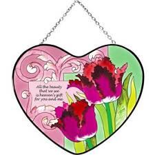 Joan Baker Designs TULIPS - GOD'S GIFT TO US Glass Lg Painted Heart Suncatcher