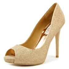 Zapatos de tacón de mujer plataformas de color principal oro de lona