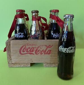 "6 Miniature 3"" Glass & Gold Coca Cola Holiday Bottles & Wood Crate Soda Mini"