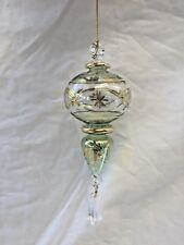 """Egyptian Handmade Glass 24K Gold Accent Christmas Red Ornament 7"""" #629"""