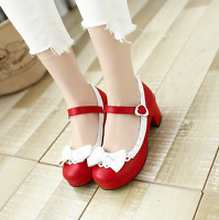 Women Ankle Strap Lolita Bowknot Sweet Mary Jane Block Heel Shoes Cosplay Ths01