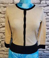 Hobbs Beige Black Cotton Silk cashmere Tight Knit Cardigan  Size xs 8 uk