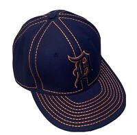 Rare Deluxe Detroit Tigers Hat By Hatco Baseball Cap MLB Navy Orange XL Fitted