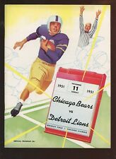 November 11 1951 NFL Program Detroit Lions at Chicago Bears EXMT