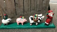 Midwest Of Cannon Falls Santa Sheep Pig Cow Carrying Gifts & Fruit Folk Art 13""