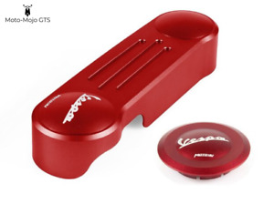 Vespa GTS GTV GT Front Suspension link cover and hub-cap Red 125 200 250 300