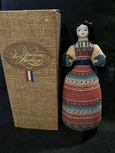 Vintage Avon American Heirloom Sachet Doll Cloth Body China Head Pin Cushion