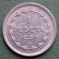 1937 Spain Coin 1 Peseta Euzkadi GOBIERNO DE EUZKADI KM# 1 Rare