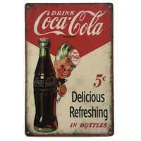 Coke Boy Tin Sign Coca Cola Garage Man Cave 30cmx20cm - New