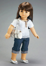 Doll Clothes AG 18.Jeans Sequin White Top Carpatina Made For American Girl Dolls