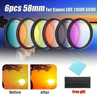 6pcs 58mm  Colour Filter + Cleaning Cloth+ Storage Bag For Canon EOS 1100D 600D