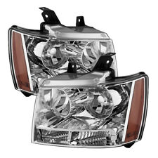 Chevy 07-14 Tahoe Avalanche Suburban Chrome Housing Replacement Headlights Pair