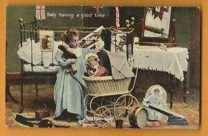 CHILDREN-  Baby having a good time.    Postcard