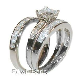 925 Sterling Silver Cz Princess Cut Wedding Band Engagement Rings Set