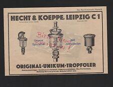 LEIPZIG, Werbung 1929, Hecht & Koeppe Unikum-Tropföler Ölstandsanzeiger