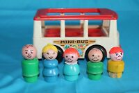 Vintage Fisher Price Little People Play Family White Mini Bus & 5 Wooden Figures