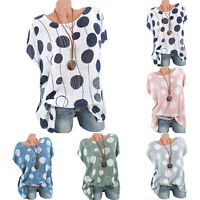 Womens Plus Size Tops Ladies Summer Casual Spotted T Shirts Blouse Short Sleeve