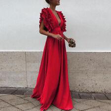 Formal Party Prom Dress Women Elegant Deep V Neck Bridesmaid Long Dress Vestido