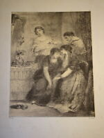 DIAZ DE LA PEÑA (1807-1876) Litho ORIGINALE FEMME VEUVE ROMANTISME BARBIZON 1850