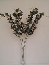 4 x PALE PINK BRACT CLUSTERS WITH VINE LEAF FOLIAGE ARTIFICIAL FLOWER STEMS 86CM