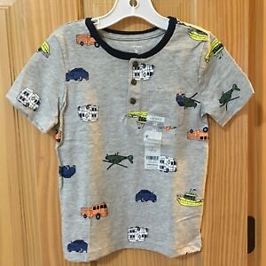 New Carter's Boys Rescue Vehicle Tee Shirt Top Toddler Gray 5T