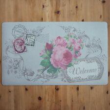shabby chic français Vintage Floral Paillasson Bienvenue Paris CARTE POSTALE