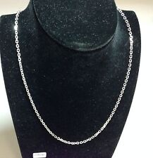"""14k White Gold Cable Link Pendant Chain/Necklace 24"""" 1 mm  WCAB030"""