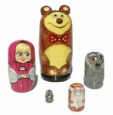 "Russian Fairy Tale ""Masha and Bear"" Wood Matryoshka Babushka Nesting Wooden Doll"