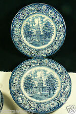 Liberty Blue Staffordshire Colonial Scenes Independence Hall Dinner Plates 4 set