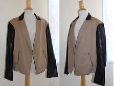 WD NY Sz 2X Elegant Chic Hip Black Faux-Leather Sleeves Khaki Knit Blazer Jacket