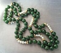Vintage Jade & Cultured Pearl Gold Tone Necklace