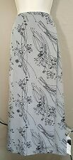 Bentley Womens Size 12 Maxi Wrap Skirt Gray With Black Florals 100% Polyester