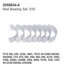 3056834-4 Case Tractor Parts Rod Bearing Set .010 Ih 584, 585, 3230, 100C, Td7C