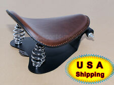 "Brown Leather SOLO Seat Pan Cover Frame 3"" Spring Kits For Harley Bobber Chopper"