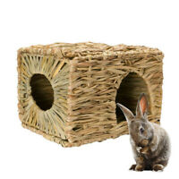 LD_ AM_ Pet Woven Grass Straw Small Rabbit Hamster Cage Nest House Chew Toy He