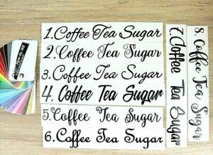 Personalised Coffee Tea Sugar Kitchen Storage Jar Labels Stickers Vinyl Decals